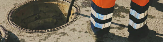 street sewer drain cleaning with long pipe